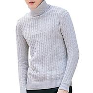 Herre Langærmet Pullover - Ensfarvet Rullekrave