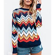 Žene Dnevno Dungi Color block Dugih rukava Regularna Pullover, Okrugli izrez Navy Plava M / L / XL