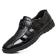 זול נעלי גברים-בגדי ריקוד גברים נעלי נוחות עור קיץ סנדלים שחור / חום