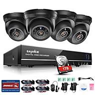 billige DVR-Sett-sannce® 4ch 4pcs 720p 1tb sikkerhetssystem hd tvi hjem overvåkningssett hdmi ir nattesyn utendørs cctv kamera
