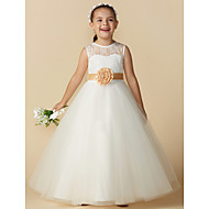 Princess Ankle Length Flower Girl Dress - Lace / Tulle Sleeveless Jewel Neck with Bow(s) / Sash / Ribbon / Flower by LAN TING BRIDE®