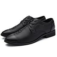 baratos Sapatos Masculinos-Homens Pele Outono Conforto Oxfords Preto / Azul