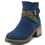baratos Sapatos Femininos-Mulheres Jeans Primavera & Outono Curta / Ankle Botas Salto de bloco Ponta Redonda Botas Curtas / Ankle Presilha Preto / Azul Escuro / Azul Claro