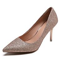 baratos Sapatos Femininos-Mulheres Sapatos Couro Ecológico Verão Plataforma Básica Saltos Salto Agulha Dedo Apontado Lantejoulas Dourado / Prateado / Vermelho
