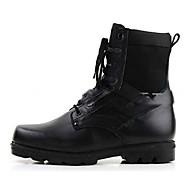 baratos Sapatos Masculinos-Homens Couro Inverno Conforto Botas Botas Cano Médio Preto