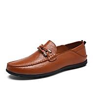 baratos Sapatos Masculinos-Homens Pele Napa / Pele Primavera Verão Casual Mocassins e Slip-Ons Estampa Colorida Preto / Castanho Claro / Castanho Escuro