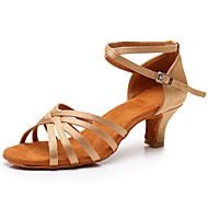 billige Sko til latindans-Dame Sko til latindans Sateng Sandaler / Høye hæler Spenne Kubansk hæl Kan spesialtilpasses Dansesko Beige