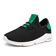 baratos Sapatos Masculinos-Homens Tricô / Couro Ecológico Outono Conforto Tênis Corrida / Caminhada Branco / Preto / Black / azul