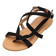 baratos Sapatos Femininos-Mulheres Sapatos Camurça Verão Conforto Sandálias Sem Salto Dedo Aberto Preto / Marron