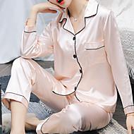 Dame Firkantet hals Jakkesæt Pyjamas Ensfarvet