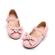 baratos Sapatos de Menina-Para Meninas Sapatos Couro Sintético Primavera & Outono Conforto Rasos Laço para Infantil Preto / Rosa claro