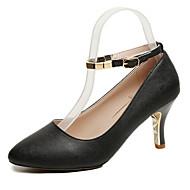 baratos Sapatos Femininos-Mulheres Couro Ecológico Outono Tira no Tornozelo Saltos Salto Agulha Dedo Apontado Presilha Branco / Preto / Rosa claro