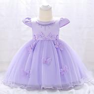 Bebek Genç Kız Vintage Parti / Doğum Dünü Solid Kısa Kollu Diz-boyu Pamuklu / Polyester Elbise Doğal Pembe