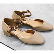 baratos Sapatos Femininos-Mulheres Mary Janes Couro Ecológico Primavera Verão Saltos Salto Robusto Branco / Amêndoa
