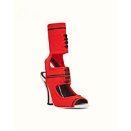 baratos Sapatos Femininos-Mulheres Sapatos Pêlo Sintético Primavera Verão Conforto Sandálias Calcanhar Heterotípico Preto / Vermelho