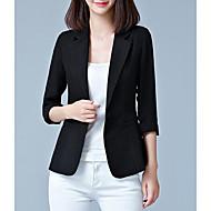 Kadın's Dışarı Çıkma Normal Blazer, Solid Bebe Yaka 3/4 Kol Polyester Siyah / Doğal Pembe / Fuşya XXXL / 4XL / XXXXXL