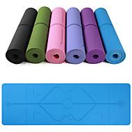 billige Matter-Yoga Matte 183*61*0.6 cm Økovennlig, Multifunksjon, Anti Glide TPE Posisjonslinje Til Yoga & Danse Sko / Pilates / Trening & Fitness Rosa, Lilla, Mørk Lilla