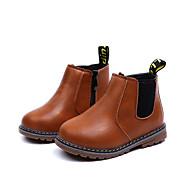 baratos Sapatos de Menina-Para Meninas Sapatos Couro Ecológico Outono & inverno Conforto / Botas da Moda Botas Caminhada Flor para Infantil Preto / Marron / Vinho / Botas Curtas / Ankle