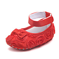 baratos Sapatos de Menina-Para Meninas Sapatos Algodão Verão Primeiros Passos Rasos Laço / Flor / Velcro para Bebê Fúcsia / Vermelho / Rosa claro