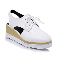 cheap Women's Oxfords-Women's PU(Polyurethane) Spring & Summer Comfort Oxfords Creepers White / Black / Silver