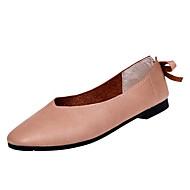 baratos Sapatos Femininos-Mulheres Sapatos Couro Ecológico Verão Conforto Rasos Sem Salto Ponta quadrada Branco / Bege / Castanho Claro