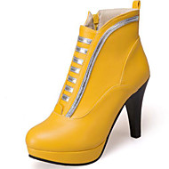 baratos Sapatos Femininos-Mulheres Sapatos Camurça / Couro Ecológico Outono & inverno Curta / Ankle Botas Salto Robusto Ponta Redonda Botas Curtas / Ankle Branco / Preto / Amarelo / Festas & Noite