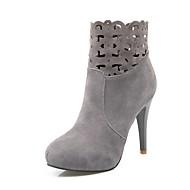 Femme Fashion Boots Daim Automne hiver Classique Bottes Talon Aiguille Bout rond Bottine / Demi Botte Noir / Gris / Bourgogne / Mariage / Soirée & Evénement