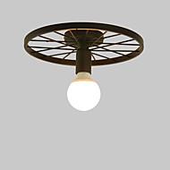billige Taklamper-vintage svart metallhjul semi flush mount taklampe stue spisestue belysning malt finish