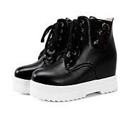 baratos Sapatos Femininos-Mulheres Sapatos Camurça / Couro Ecológico Inverno Conforto / Com Laço Botas Creepers Ponta Redonda Branco / Preto / Rosa claro