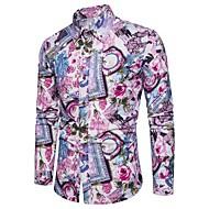 Tynn Store størrelser Skjorte Herre - Blomstret / Fargeblokk, Trykt mønster Vintage / Gatemote / Chinoiserie Klubb / Fuskepels / Langermet