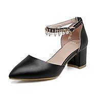baratos Sapatos Femininos-Mulheres Sapatos Couro Ecológico Primavera & Outono Conforto / Plataforma Básica Saltos Salto Robusto Preto / Rosa claro / Amêndoa