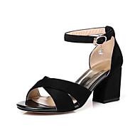 בגדי ריקוד נשים סוויד קיץ נוחות סנדלים עקב עבה שחור / אפור / Wine
