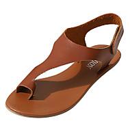 billige Sko i Store Størrelser-Dame Sko PU Sommer Komfort Sandaler Flat hæl Åpen Tå Lysebrun / Mørkebrun