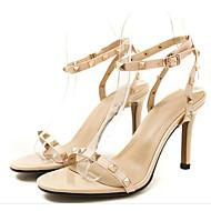 baratos Sapatos Femininos-Mulheres Sapatos Confortáveis Pele Napa Verão Sandálias Salto Agulha Preto / Amêndoa