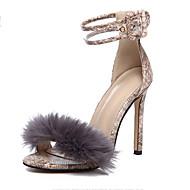 baratos Sapatos Femininos-Mulheres Stiletto Couro Ecológico Verão Formais Sandálias Salto Agulha Dedo Aberto Pom Pom Preto / Marron
