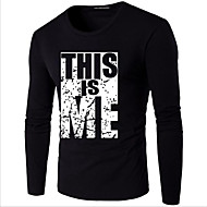 Men's Street chic Plus Size T-shirt - Letter Print Round Neck White XXXL / Long Sleeve / Spring / Fall