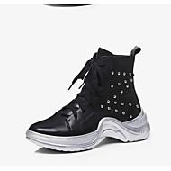 baratos Sapatos Femininos-Mulheres Curta/Ankle Pele Napa Inverno Saltos Salto Robusto Dedo Apontado Botas Curtas / Ankle Flor de Cetim Branco / Preto
