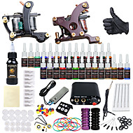 billige Tatoveringssett for nybegynnere-Solong Tattoo Tattoo Machine Startkit - 2 pcs tattoo maskiner med 28 x 5 ml tatovering blekk, Profesjonell Mini strømforsyning No case 2 x legering tatovering maskin for fôr og skyggelegging