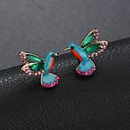 Women's Sculpture Stud Earrings Rhinestone Earrings Mini Bird Ladies Cartoon Cute Jewelry Rainbow For Daily Going out 1 Pair