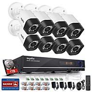 billige DVR-Sett-sannce® 720p 8ch cctv dvr svart bullet kameraer hjemme overvåking sikkerhet kamera system innebygd 1 tb hdd