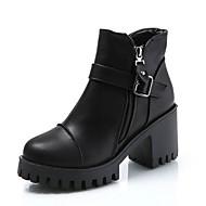 Dame Fashion Boots PU Efterår Minimalisme Støvler Kraftige Hæle Rund Tå Ankelstøvler Sort / Grå / Vin