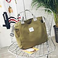 baratos Bolsas Tote-Mulheres Bolsas Tela de pintura Tote Ziper Verde / Preto / Amarelo