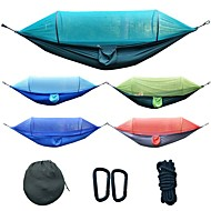 Camping Hammock with Mosquito Net Outdoor Lightweight Breathability Parachute Nylon for 2 person Fishing Hiking Beach Orange Dark Blue Dark Green 275*145 cm