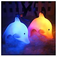søde farverige led natt lys børn gave legetøj indretning fødselsdag jul gave nat lys med lanyard dolphin luminescerende delfin tilfældig farve