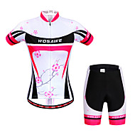 cheap -WOSAWE Women's Short Sleeve Cycling Jersey with Shorts - Peach Bike Shorts Jersey Clothing Suit Breathable 3D Pad Quick Dry Anatomic Design Reflective Strips Sports Elastane Floral / Botanical