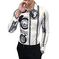 저렴한 -남성용 동물 / 부족 클래식 카라 슬림 셔츠, 빈티지 작동 화이트 XXL / 긴 소매 / 가을 / 겨울
