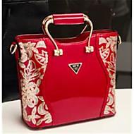 baratos Bolsas Tote-sacos de mulheres tote de couro napa flor vinho / vermelho / preto