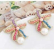 Dam 3D Dubb Örhängen Oäkta pärla örhängen Sjöstjärna damer Stilig Smycken Regnbåge Till Dagligen en Pair