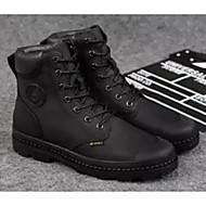 baratos Sapatos de Tamanho Pequeno-Homens Sapatos Confortáveis Pele Inverno Botas Botas Cano Médio Preto / Marron