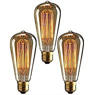 billige Glødelampe-3pcs 40 W E26 / E27 ST64 Varm hvit 2200-2700 k Kontor / Bedrift / Mulighet for demping / Dekorativ Glødende Vintage Edison lyspære 220-240 V